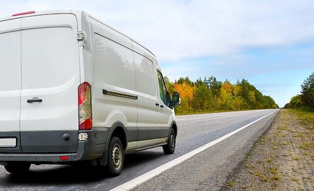 Commercial fleet van on the road
