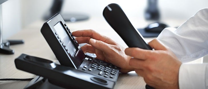 Business phone system being operated