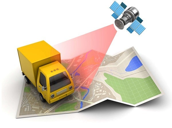 Graphic showing GPS technology tracking a lorry