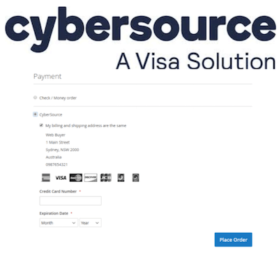 CyberSource logo and payment gateway interface