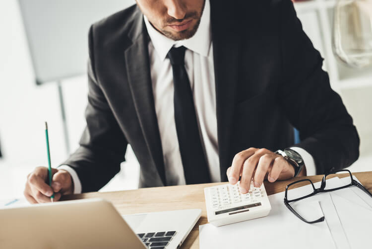 Accountant using a CRM system to manage clients