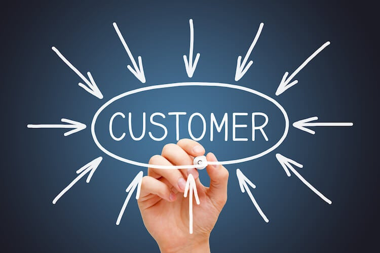Hand drawing arrows pointing to the word customer, emphasising the importance of strategic CRM goals
