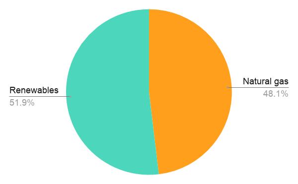 Pie chart showing SSE's fuel mix