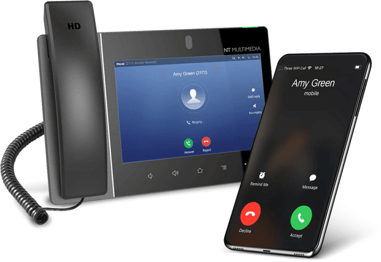 NT Cloud PRO system on a desk phone and smartphone