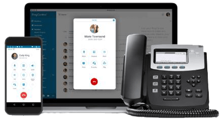 RingCentral Office on a smartphone, laptop and desk phone