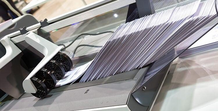 Franking machine going through mail