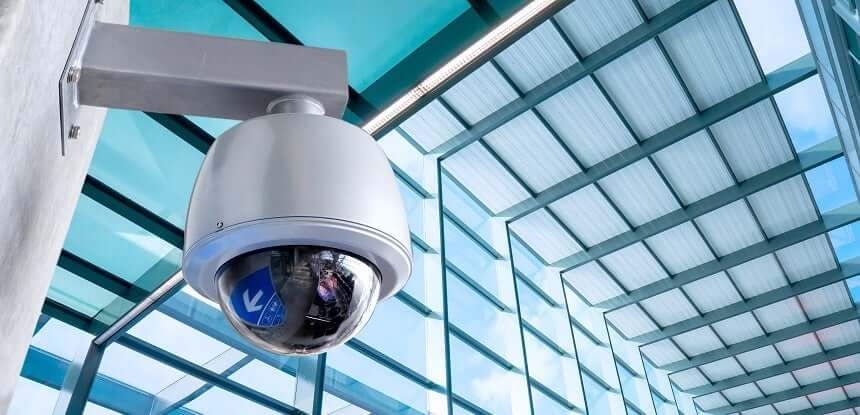 Security camera at a business premises