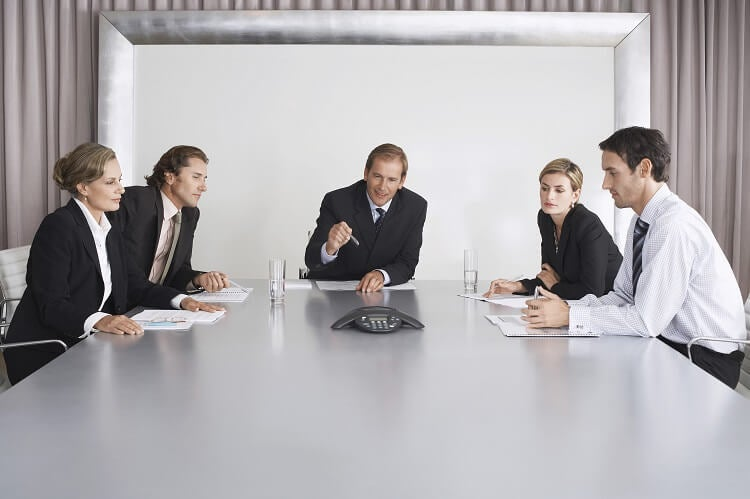 Business people on a conference call
