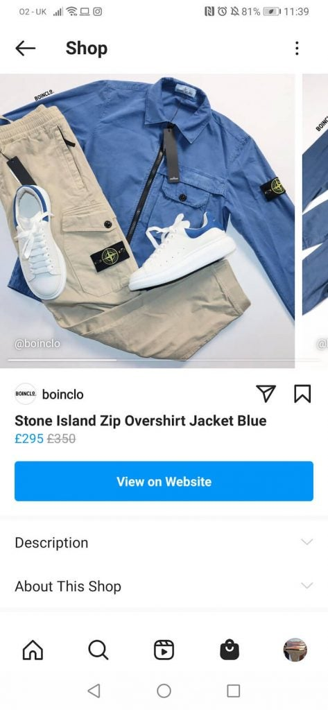 facebook shop example