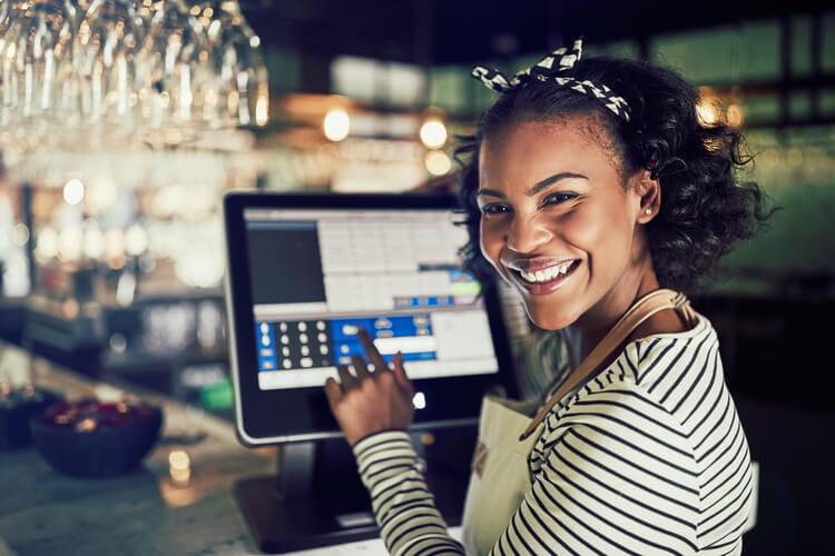 Woman using an EPOS system