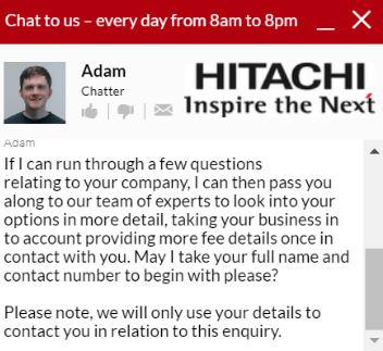 hitachi capital chatbot conversation