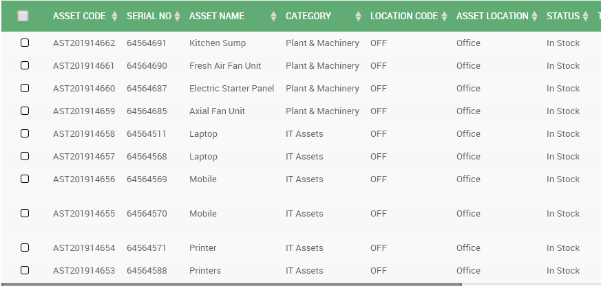 Asset Tracking Software Table