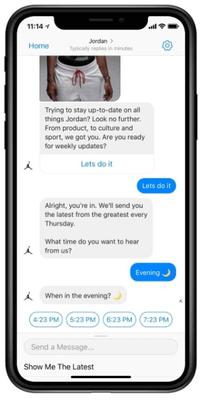 nike jordan chatbot on a smartphone