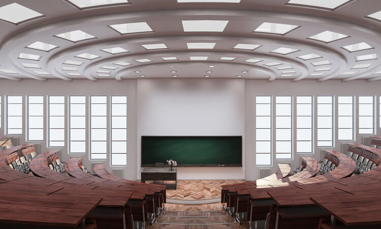 Empty university lecture hall