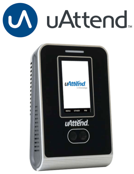 uAttend logo and facial recognition attendance machine