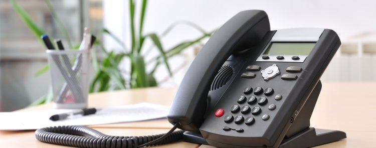 Business phone system on a table
