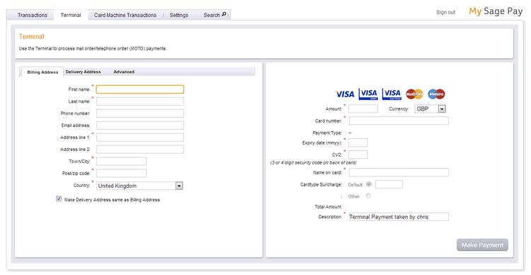 Sage Pay virtual terminal