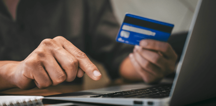 Making an online payment with a laptop