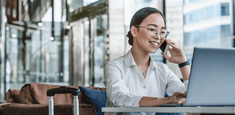 Woman taking payments over the phone