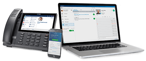 Mitel MiCloud Connect on a desk phone, smartphone and laptop