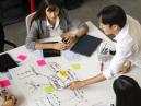 Marketing team brainstorming a new CRM idea