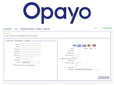 Opayo virtual terminal logo and interface