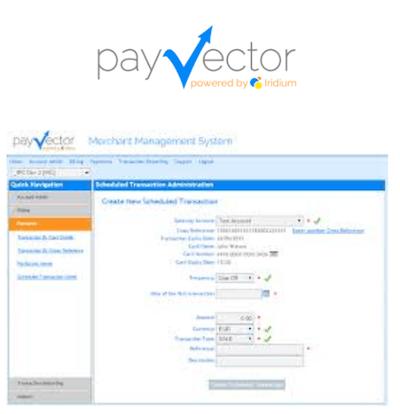 PayVector virtual terminal logo and interface