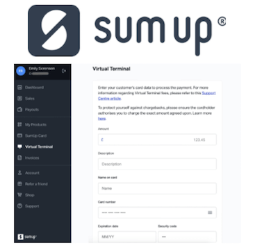 SumUp virtual terminal logo and interface