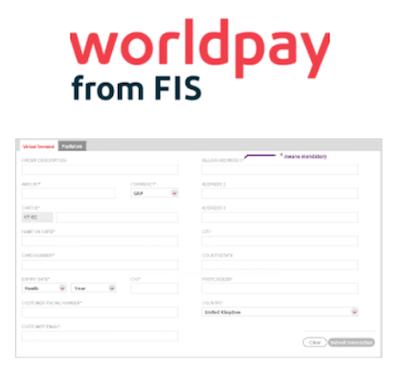 Worldpay virtual terminal logo and interface