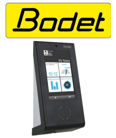 Bodet logo and clocking-in system