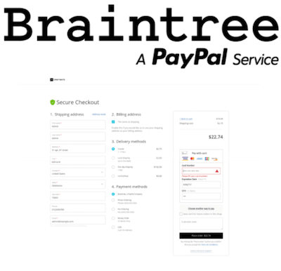 Braintree logo and payment gateway interface