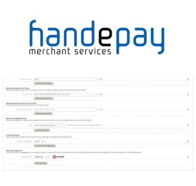 Handepay logo and payment gateway interface