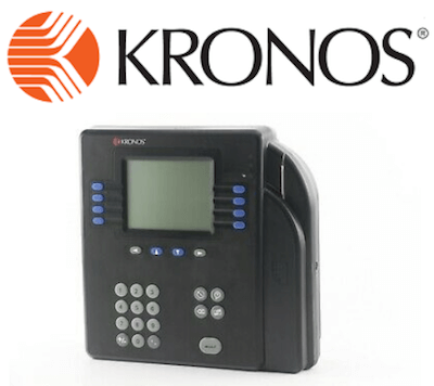 Kronos logo and clocking-in system