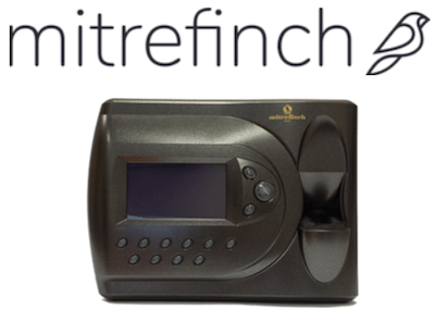 Mitrefinch logo and clocking-in system
