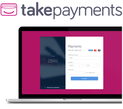takepayments logo and payment gateway interface