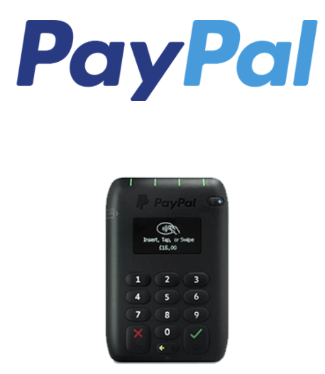 PayPal Here mobile card reader and logo