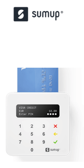 SumUp mobile card reader and logo