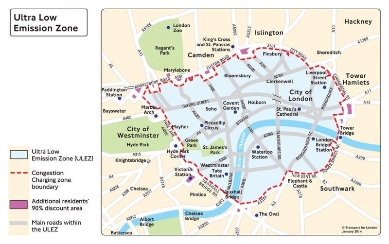ULEZ boundary map TfL