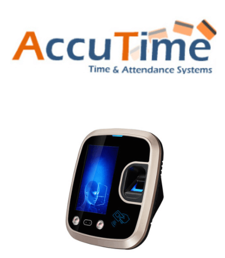 AccuTime logo and facial recognition attendance machine