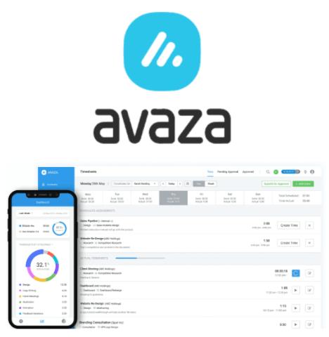 Avaza timesheet software interface and logo