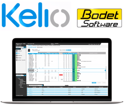 Bodet logo and time and attendance software interface