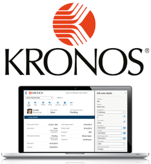 Kronos logo and time and attendance software interface