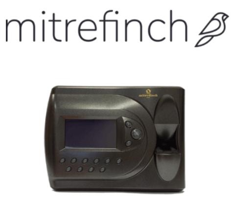 Mitrefinch logo and fingerprint clocking-in machine