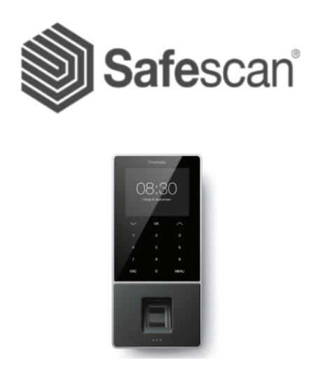 Safescan logo and fingerprint clocking-in machine