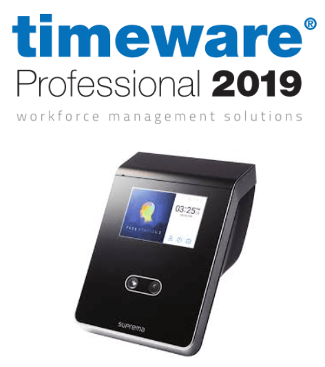 Timeware logo and facial recognition attendance machine
