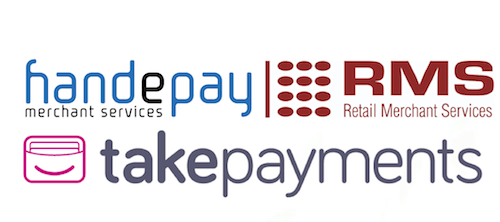 ISOs logos Handepay, RMS, takepayments