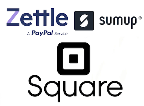 Payment facilitator logos Zettle, SumUp, and Square