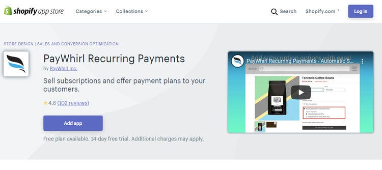 shopify paywhirl app