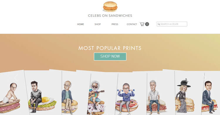 celebs on sandwiches wix example
