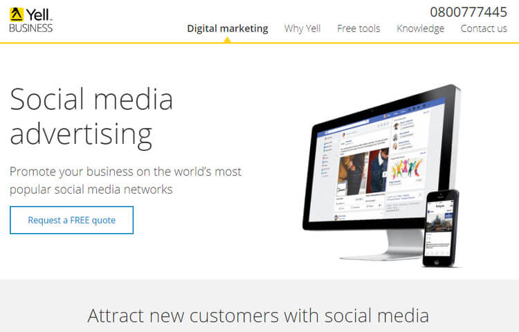 Yell social media advertising screenshot
